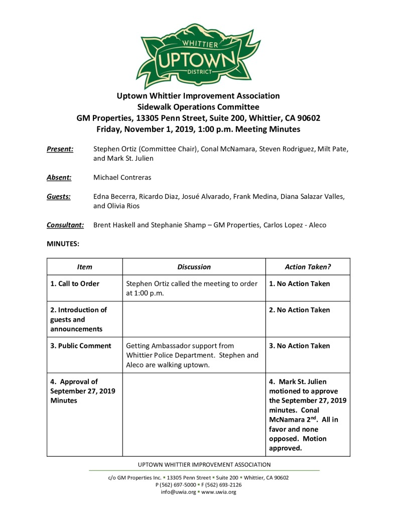 thumbnail of Sidewalk Operations Committee Meeting Minutes 11-01-2019 final