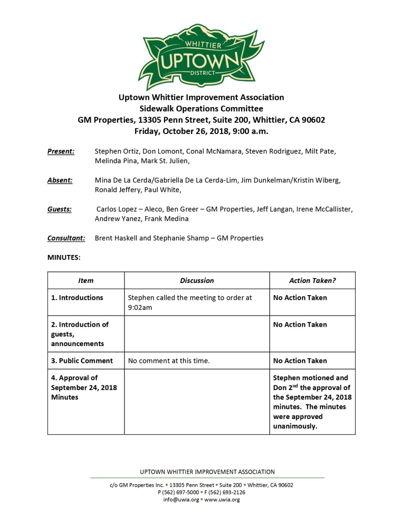 thumbnail of Sidewalk Operations Committee Minutes 10-26-2018