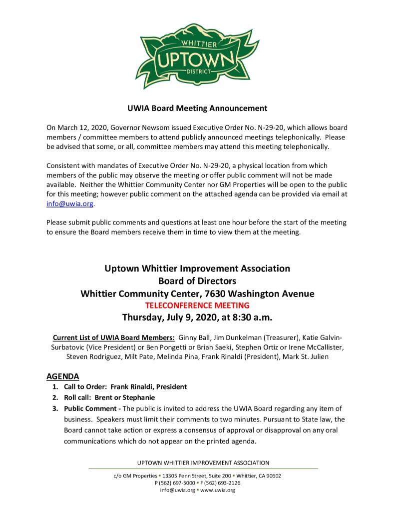 thumbnail of UWIA Board Meeting Agenda Packet 07-09-2020