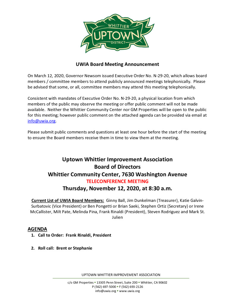 thumbnail of UWIA Board Meeting Agenda Packet 11-06-2020