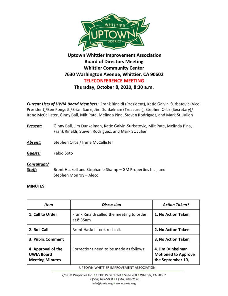 thumbnail of UWIA Board Meeting Minutes 10-08-2020 final