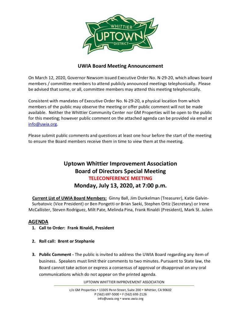thumbnail of UWIA Board Special Meeting Agenda 07-13-2020