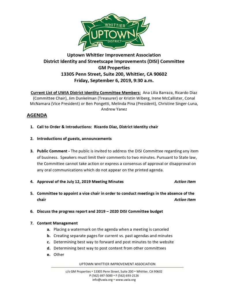 thumbnail of UWIA DISI Committee Meeting Agend Packet 09-06-2019