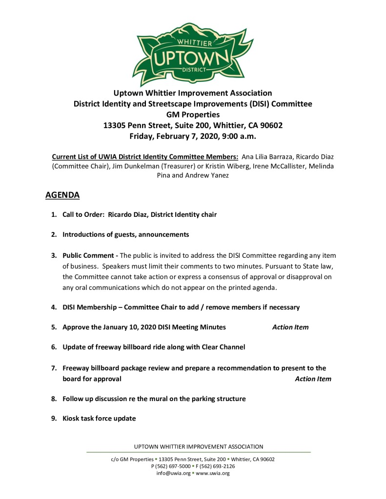 thumbnail of UWIA DISI Committee Meeting Agenda Packet 02-07-2020