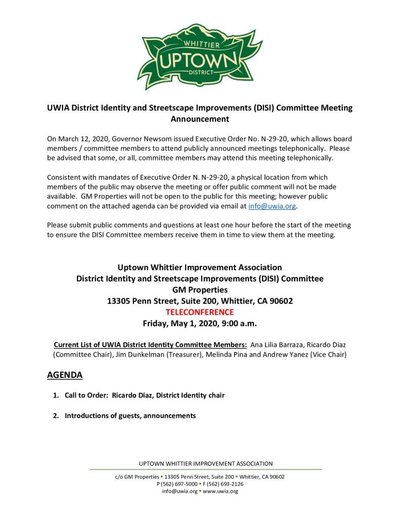 thumbnail of UWIA DISI Committee Meeting Agenda Packet 05-01-2020