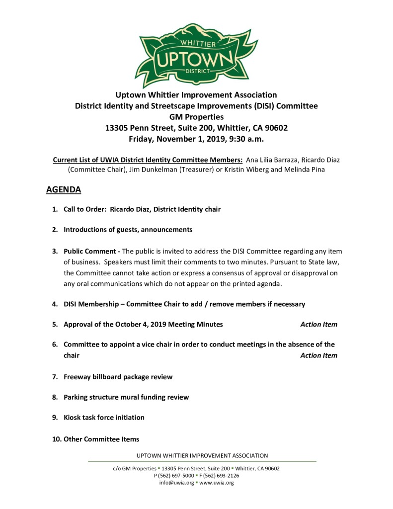 thumbnail of UWIA DISI Committee Meeting Agenda Packet 11-01-2019