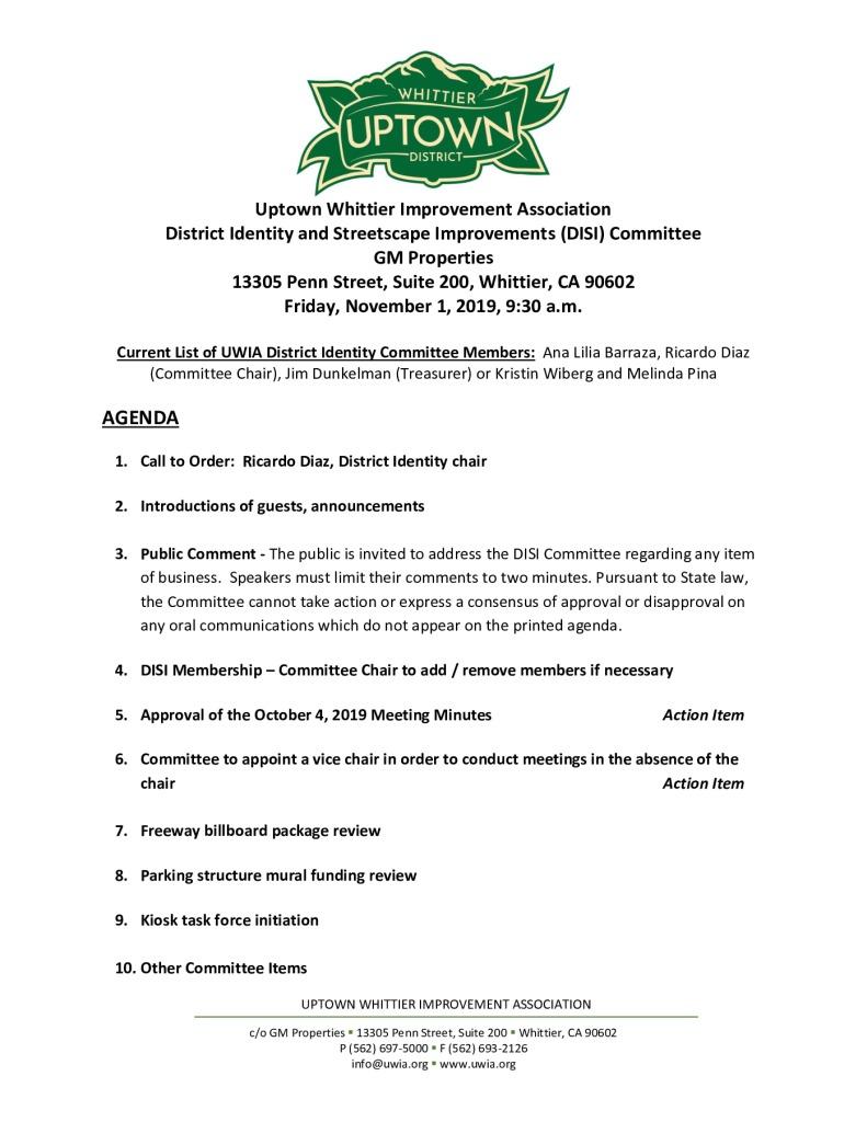 thumbnail of UWIA DISI Committee Meeting Agenda Packet 11-01-2019