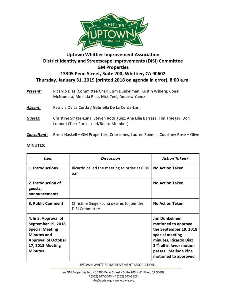 thumbnail of UWIA DISI Committee Meeting Minutes 01-31-2019