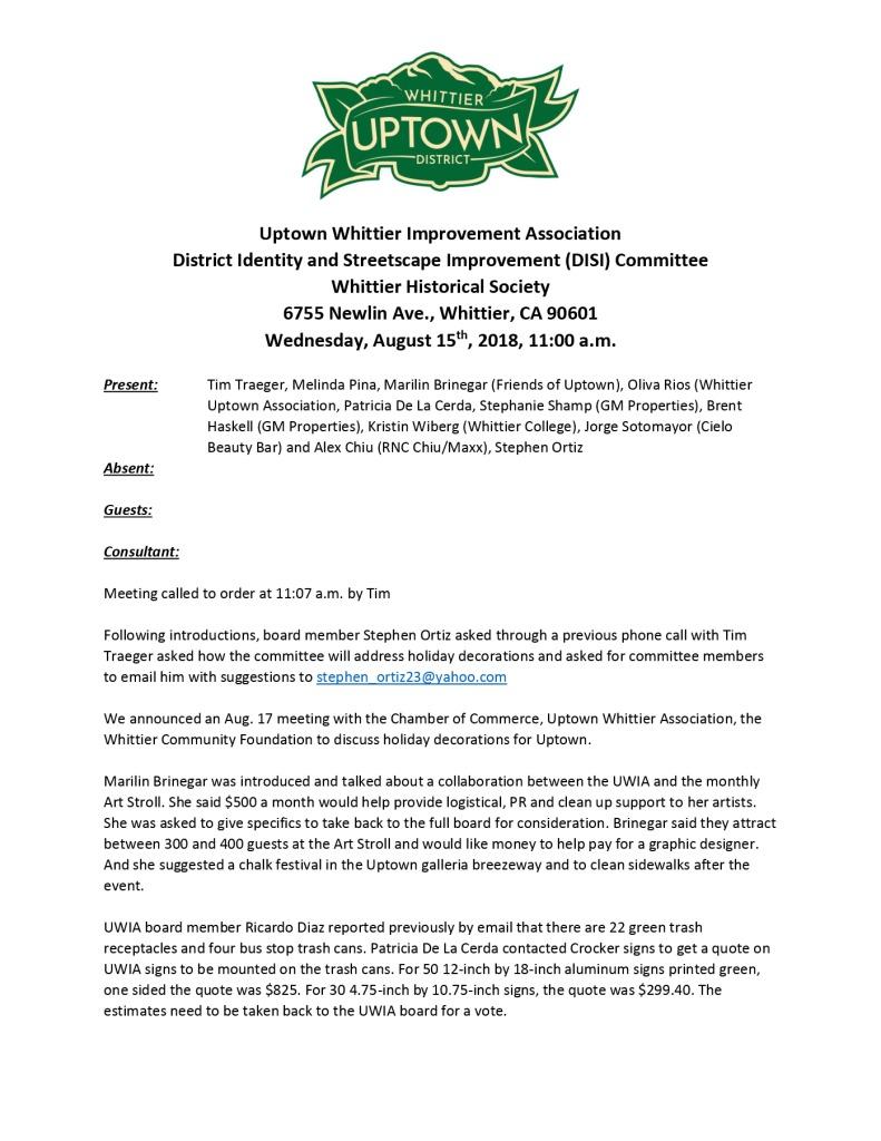 thumbnail of UWIA DISI Committee Minutes 08-15-2018