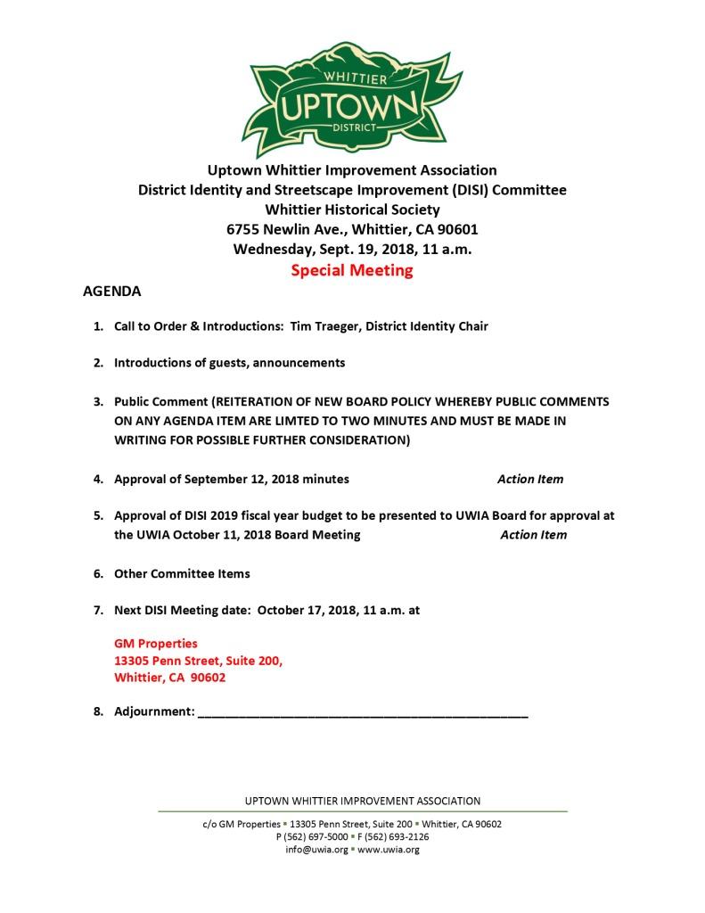 thumbnail of UWIA DISI Committee Special Meeting Agenda 09-19-2018