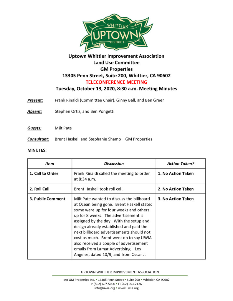 thumbnail of UWIA Land Use Committee Meeting Minutes 10-13-2020 final