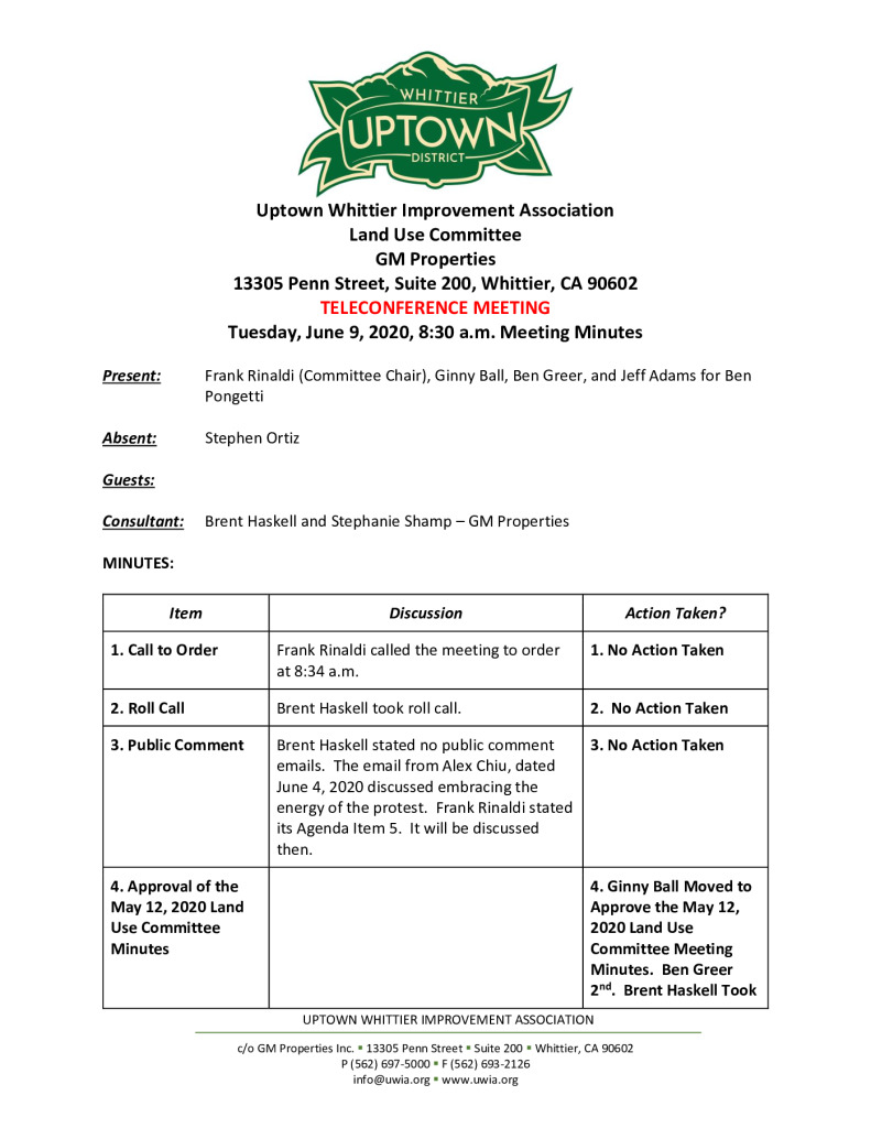 thumbnail of UWIA Land Use Committee Minutes 06-09-2020 final