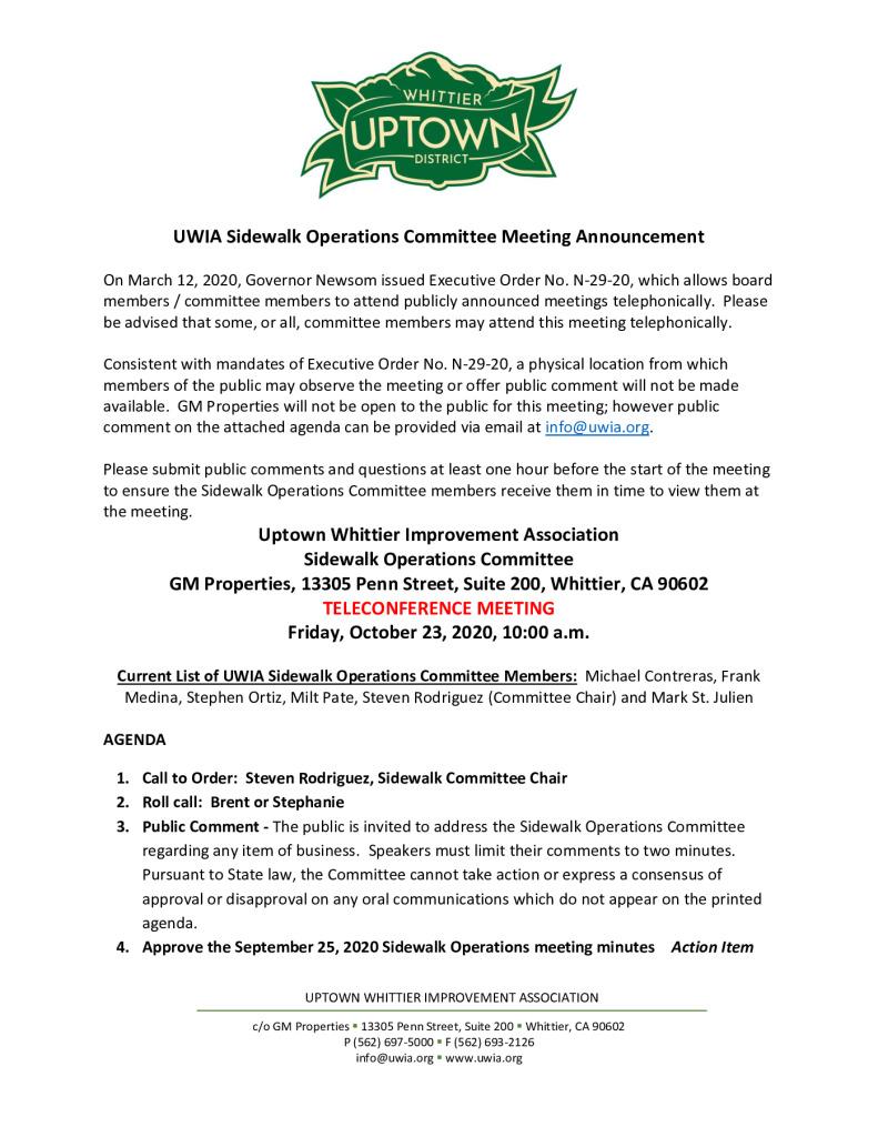 thumbnail of UWIA Sidewalk Operations Committee Meeting Agenda Packet 10-23-2020