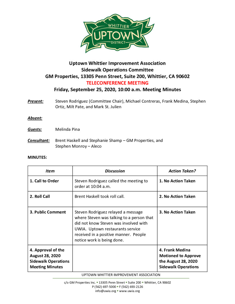 thumbnail of UWIA Sidewalk Operations Committee Meeting Minutes 09-25-2020 final