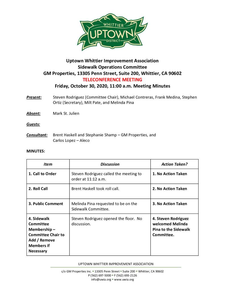 thumbnail of UWIA Sidewalk Operations Committee Meeting Minutes 10-30-2020 final
