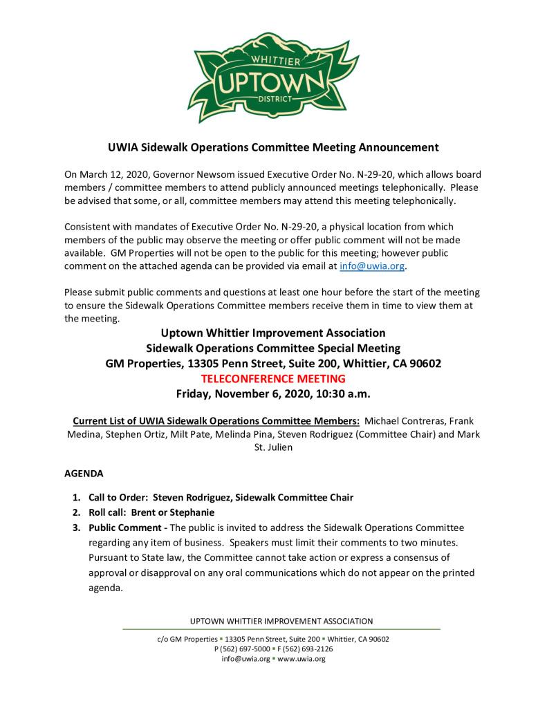 thumbnail of UWIA Sidewalk Operations Committee Special Meeting Agenda Packet 11-06-2020