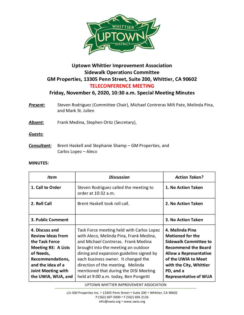 thumbnail of UWIA Sidewalk Operations Committee Special Meeting Minutes 11-06-2020 final
